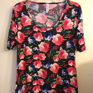 Lularoe M Christy T Roses in Pink & blue